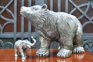 Bright Italian Pewter Bear Big Size